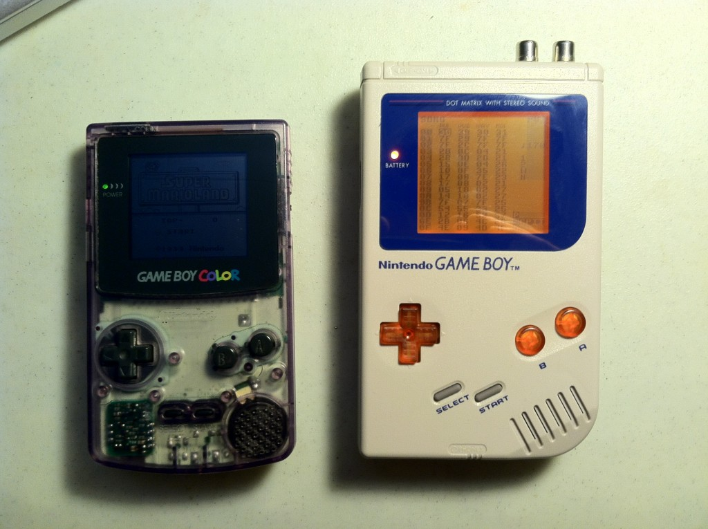 my first two custom Game Boys, BUDO (left) and MIKAN (right)
